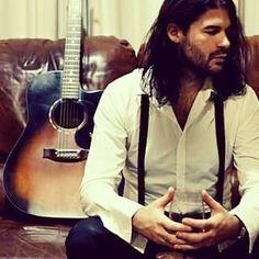 musician, rob walker, braces, suspenders, guitar, wine, maton, acoustic, wineglass, leather, sofa, beard, long hair, model, photoshoot
