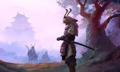 Samurai by mattforsyth (Matt Forsyth) Japanese Art Samurai, Japanese Warrior, Japanese Dragon, Samurai Wallpaper, Arte Ninja, Samurai Artwork, Bild Tattoos, Samurai Tattoo, Demon Tattoo