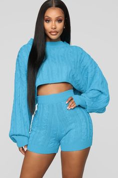 Available In Fuchsia, Lime, Ivory, Turquoise, Orange And Heather GreyCable Knit SetCrop TopHigh Waist ShortsOversize Acrylic Denim Fashion, Fashion Outfits, Girl Fashion, Brooklyn, Turquoise Fashion, Nova Jeans, Jean Outfits, Casual Outfits, Distressed Denim