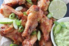 Honey Lime Chicken Wings with Creamy Avocado Cilantro Dip MODIFY for AIP