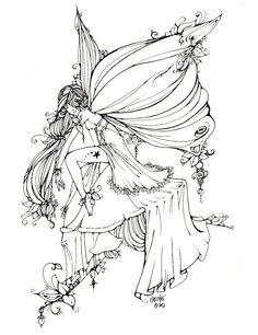 Leaf Fairy Line Art by *UGLITRY on deviantART
