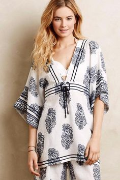 NEW ANTHROPOLOGIE $158 Palolem Cover-Up Ranna Gill Top Size Small Neutral Navy #Anthropologie #CoverUp
