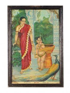 Multi Color Zari Work Krishna Bandhan Ravi Varma Art 15in X 10in X 0.5in