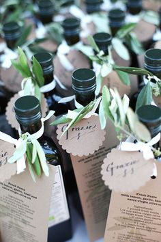 Olive oil wedding favors with a pasta recipe! | Brides.com