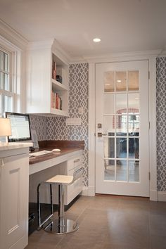 Feature walls are back in! wallpaper in the powder room or office?