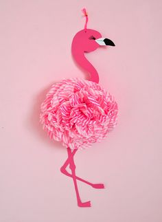 miss red fox - DIY Pink Flamingo - Pompom - Paper - Craft