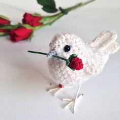 Love you bird perfect Valentine's gift by FreshlyKnittedThings Crochet Bird Patterns, Animal Knitting Patterns, Crochet Birds, Love Crochet, Crochet Animals, Amigurumi Patterns, Crochet Parrot, Fabric Birds, Art Yarn