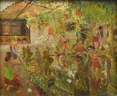 Adrien Jean Le Mayeur de Merprés - THE LOTUS POND; Medium: Oil on canvas; Dimensions: 100 X 120 cm.