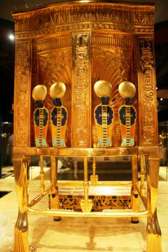 Chair from King Tut's tomb, back view. (These folks were craftsman beyond comprehension!)