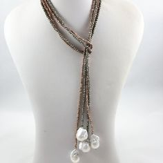 Single Strand Pyrite and Large Baroque Pearl Lariat Necklace Baby Jewelry, Geek Jewelry, Wedding Jewelry, Fine Jewelry, Jewelry Bracelets, Fashion Bracelets, Fashion Jewelry, Pearl Necklace Designs, Lariat Necklace