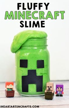 Fluffy Minecraft Creeper Slime Recipe! - So easy to make and they are perfect for party favors! Minecraft Crafting Recipes, Minecraft Crafts, Minecraft Party, Lego Minecraft, Minecraft Music, Toddler Crafts, Diy Crafts For Kids, Fun Crafts, Arts And Crafts