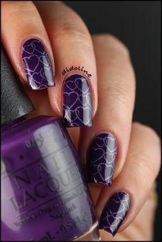 Didoline's Nails - purple fingernail polish with light purple hearts design on top