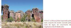 Arenitos de Vila Velha separados, pela ação da erosão. Parque Estadual Vila Velha - Serviço Geológico do Paraná - Mineropar