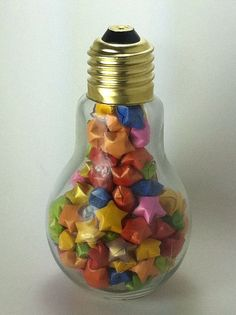 Light bulb jar filled with Origami lucky stars
