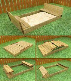 Ah! E se falando em madeira...: caixa de areia com bancos para crianças, projeto gratuito no blog