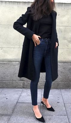I love the dark wash jeans, the pointed heels, and the plain black top. The long coat adds to the outfit too. Only thing is that I don't like the slip-on style of the shoes, just the pointed toe.