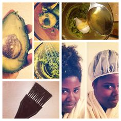 Avocado deep moisturizer for #naturalhair! 1/2 mashed avocado + 1 tsbp each of sunflower oil, macadamia oil, and honey. Massage into scalp & hair, 20 minutes under plastic cap, then rinse.