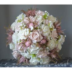 Bridal Bouquets - Pink Thistle & Rose Wedding Posy With Gyp - choose rose Colours Gypsophila Bridal Bouquet, Bridal Bouquet Pink, Bride Bouquets, Bridal Flowers, Pink Wedding Theme, Wedding Matches, Rose Wedding, Uk Bride, Pink Color Schemes