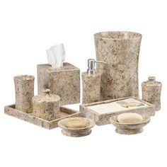 Edinburgh Fossil Stone 10 Piece Bathroom Accessories Set