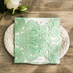 affordable mint green laser cut wedding invitations