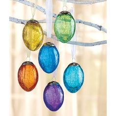Amazon.com: Set of 6 Crackled Glass Egg Ornaments in Solid Colors: Home & Kitchen