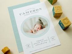 Classic Birth Announcement, Traditional Baby Boy Announcement with Newborn Photo, Announcements for New Boy or Girl