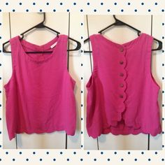 Pink Scalloped Top Very cute pink top with scalloped bottom. Has buttons going down the back. This top is very feminine and a must have for the summer! No size tag but I would say it fits a small/medium. NOT URBAN OUTFiTTERS, using for visibility. Urban Outfitters Tops Blouses