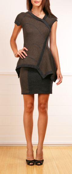 YIGAL AZROUEL DRESS Y's, V's, and asymmetry with a peplum detail. Good choice for Inverted Triangle. Short skirt shows off the great legs that this body type tends to have.