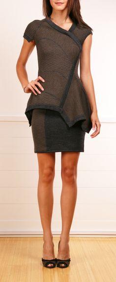 YIGAL AZROUEL PEPLUM KNIT DRESS...love the contrast