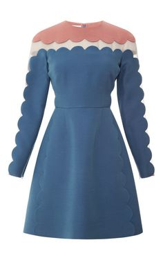 Shop Silk and Wool-Blend Scalloped Detail Dress by Valentino Now Available on Moda Operandi