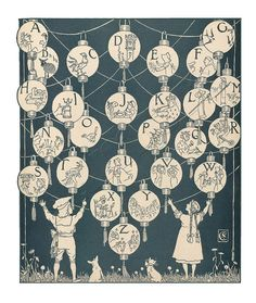 'The Song of Sixpence Picture Book' is a wonderful children's story book, illustrated by a master of the Golden Age of Illustration - Walter Crane. Walter Crane, Art Nouveau, Alphabet Print, Alphabet Posters, Alphabet Cards, Alphabet Soup, Arts And Crafts Movement, Favim, Paper Lanterns