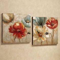Joyful Garden Floral Canvas Wall Art Set Joyful Garden Canvas Art Set Russet Set of Two Homemade Canvas Art, Diy Canvas, Canvas Wall Art, Large Canvas, Floral Wall Art, Arte Floral, Wall Art Sets, Flower Art, Art Flowers