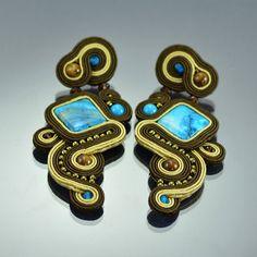 Soutache boucles d'oreilles Caballito de Mar, longues boucles d'oreilles de Soutache, Turquise boucles d'oreilles, Soutache marron, clip-on, Studs boucle d'oreille, bijoux faits main