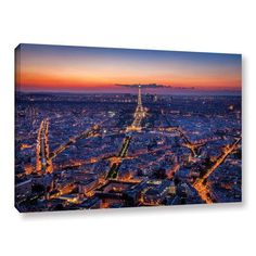 Latitude Run City Lights Photographic Print on Wrapped Canvas Size: