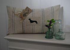 Hand Made Appliqué Daschund Bolster Cushion in by HillyHortonHome