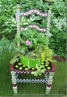 Bright and Colorful Garden Chair - Gardening - Planters - Garden Chair Garden Chairs, Garden Planters, Garden Art, Garden Ideas, Funky Painted Furniture, Painted Chairs, Vintage Outdoor Decor, Chair Planter, Backyard Plan