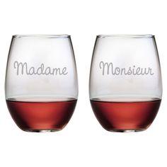 2 Piece Madame et Monsieur Stemless Wine Glass Set