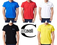 NWT $195 JUST CAVALLI COTTON  POLO: BLACK, WHITE, RED, BLUE, YELLOW. SZs  L, XL #JustCavalli #PoloRugby