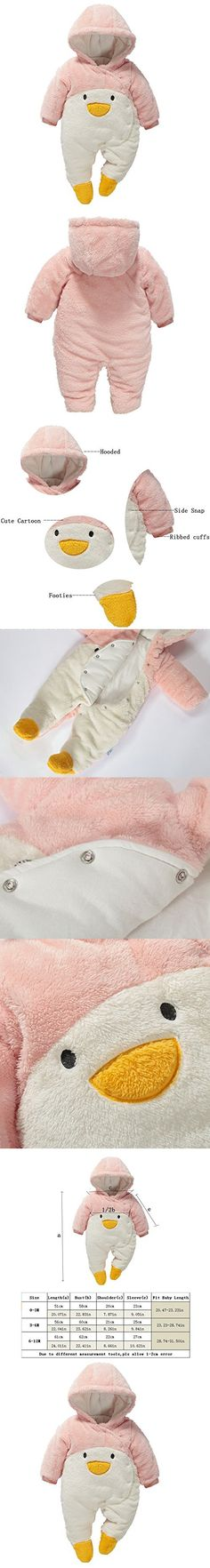 Fairy Baby Baby Boy Girl Winter Flannel Bunting Outfits Romper Outwear,6-12M,Pink Penguin