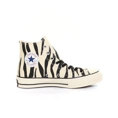 Chuck Taylor Zebra All Star '70 (Glows In The Dark) By Converse... ($53) ❤ liked on Polyvore featuring shoes, sneakers, converse, black lace up shoes, black hi top sneakers, high top sneakers, black sneakers and high top shoes