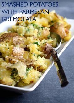 Smashed Potatoes with Parmesan Gremolata