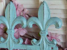 Aqua Blue Iron Fleur De Lis Wall Key Hanger Hooks Necklace Rack Organizer Shabby and Chic Parisian Chic Apartment Decor