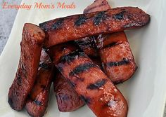 ~Sticky Grilled Smoked Sausage~ With just a few ingredients, take plain smoked sausage and transform it into something brand new! Sticky, sweet and absolutely delicious, it's a great summer time barbecue meat!
