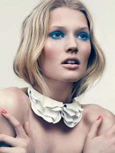 Toni Garrn showing us how to do blue #ellefrance #editorial