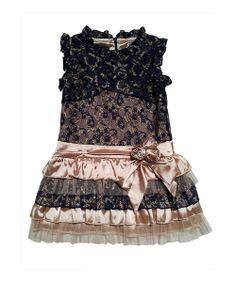 Gold & Navy Cierra RaRa Dress - Toddler & Girls