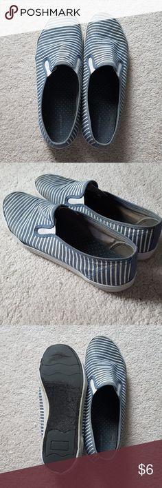 Nautical slip ons Blue and white striped slip on sneakers perfect for any occasion! Great shoe and extremely appreciated by myself city sneaks Shoes