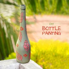 From using bottles as a canvas to creating mixed media art, the trend of Bottle Painting has now become an art form in itself! We have put an unusual spin on this bottle by combining a pastel background with white leaves enhanced with Neon Orange dots. Beer Bottle Crafts, Wine Bottle Art, Diy Bottle, Waste Bottle Craft, Glass Painting Designs, Paint Designs, Painted Glass Bottles, Bottle Painting, Painting Art