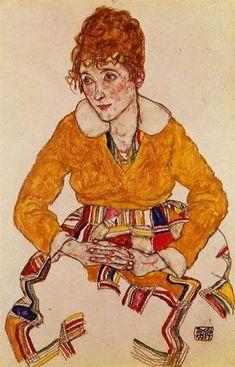 Portrait of the Artist's Wife, 1917 by Egon Schiele. Expressionism. portrait