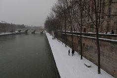 Les quais de Seine enneigés