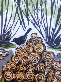 "Celia Hart ~ Detail of woodcut illustration on back cover ""Woodland Craft"" by Ben Law"